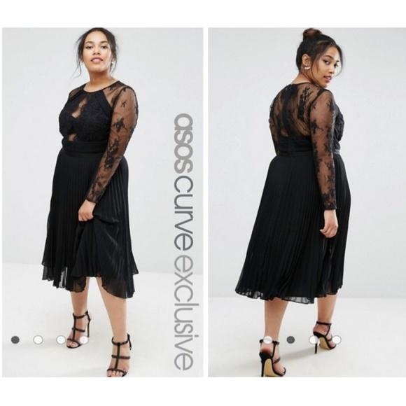2a593e5263b ASOS CURVE Pretty Lace Eyelash Pleated Midi Dress